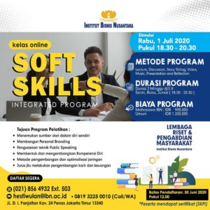 Read more about the article KELAS ONLINE SOFT SKILLS INTEGRATED PROGRAM